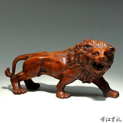 Collect China Old Boxwood Hand-Carved Fierce Lion Delicate Unique Decor Statue