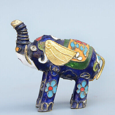 Collect China Old Cloisonne Hand-Carved Lovely Elephant Delicate Unique Statue