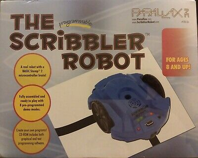 Parallax The Programmable Scribbler Robot Blue Parallax #28136 SEALED free shpg