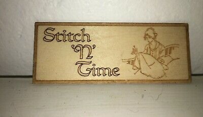 Dollhouse Miniature Wood Sewing Shop Sign Stitch n' Time