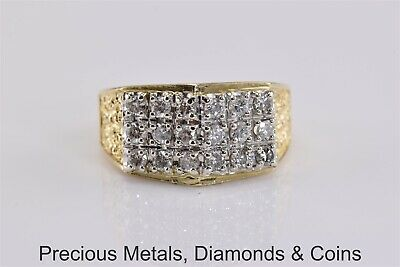 14k Yellow Gold 1 TCW Natural Diamond Cluster Nugget Band Ring 6.4g Sz: 9.5