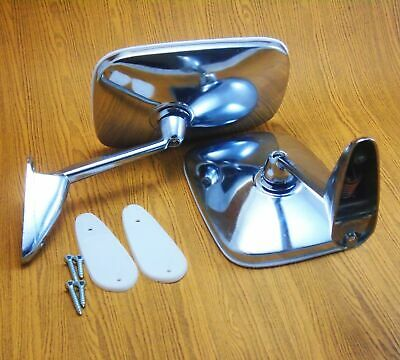 CHROME SQUARE DOOR FENDER MIRRORS PAIR 2 PIECES NEW FIT FOR 1960 61-1970 FALCON