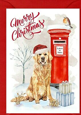 Auto combined postage Golden Retriever Christmas Labels by Starprint No 3