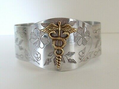 Vtg Wwii Army Medical Corps Caduceus Insignia Trench Art Sweetheart Bracelet Ww2