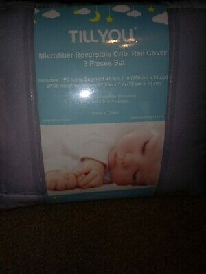 TillYou Microfiber Reversible Baby Crib Rail Cover Pale Gray 3-Pack