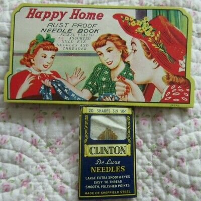 Vintage Needles Advertising Cards HAPPY HOME Japan Clinton from England