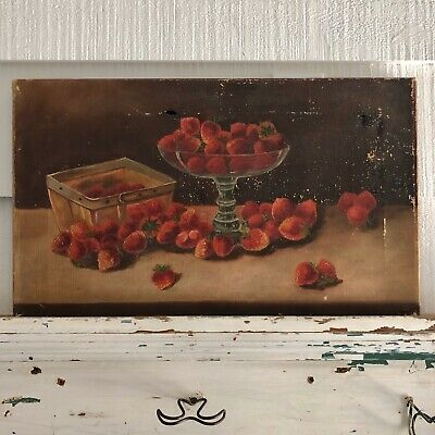 Charming Antique Strawberry Oil Painting on Stretch Canvas