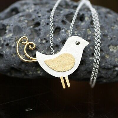 Large Satin Finish Two Tone Bird Pendant Sterling Silver 925 , from Canada