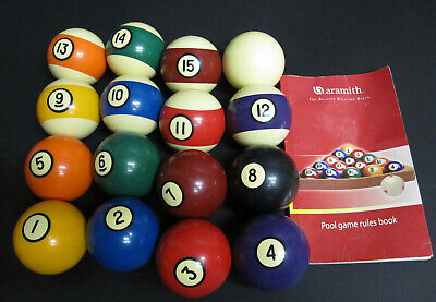 "Vintage Aramith Standard 2 1/4"" Pool Balls Belgian Billiard Balls Full Set"