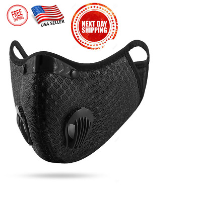 USA SELLER Activated Carbon Face Mask Double Valve Exhaust Breathable Outdoor