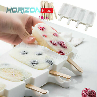 JW/_ 8 Cell Silicone Frozen Ice Cream Mold Juice Popsicle Maker Ice Lolly Mould