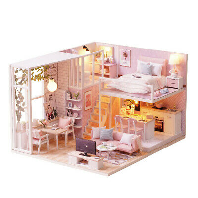 DIY Handcraft Miniature Project Kit Wooden Dolls House Pink Little Loft House