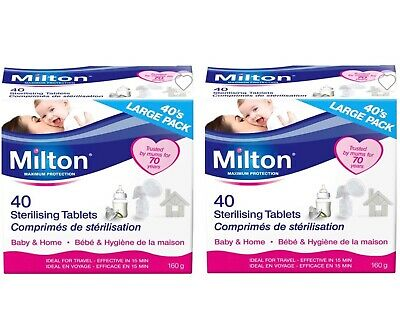 2 x Milton Sterilising Tablets 40 Pack. Baby & Home.