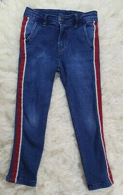 Zara Blue Denim Jeans With Red Stripe  For 5 Years Old Boys..Good Condition