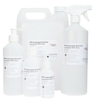 Isopropyl Alcohol 99.9% PURE IPA Isopropanol Disinfectant Cleaner - 100ml to 20L