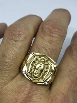 Vintage Gold Stainless Steel Mother Mary Saint Size 8 Men's Ring