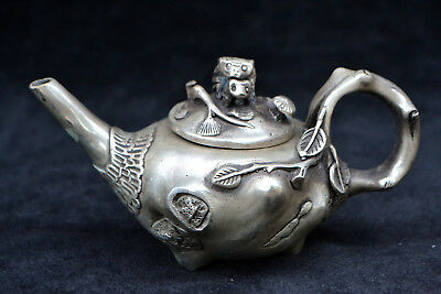Collectible Chinese Old tibet Silver handwork mouse love decorate rare Teapot