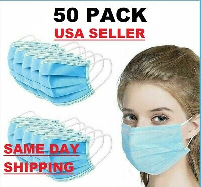50 PCS Face Mask Surgical Dental Disposable 3-Ply Ear-loop Mouth Cover (No Box)