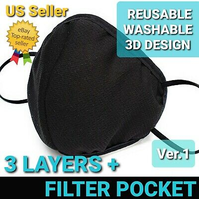 Face Mask 3D Triple Layer Reusable & Washable Filter pocket Ver.1 Unisex US Sell