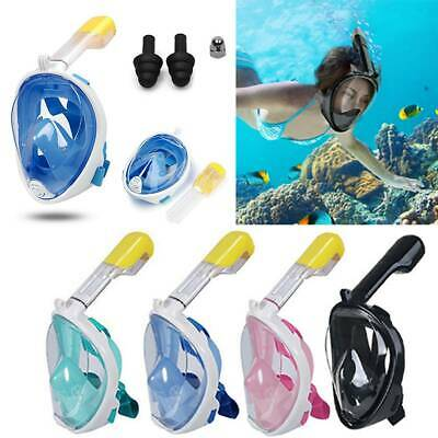 Kids Adult Swimming Scuba Snorkel Set Full Face Mask Anti-Fog Diving For GoPro