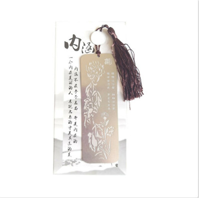 Chinese Style Plum Orchid Bamboo Chrysanthemum Vintage Metal Bookmark With Tasse