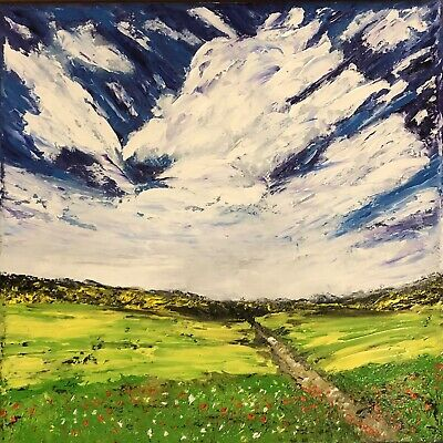 "ORIGINAL Oil Painting Stretch Canvas 8"" X 8"" Palette Knife Landscape By  Angela"