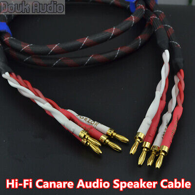 ---Pair HIFI Bi-Wire Canare Star Quad Speaker Audio Cable Banana S01Bw 3.5m 11ft