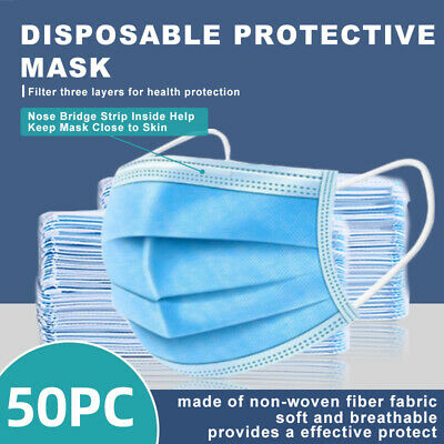 [50 PCS] Face Mask Disposable Non Medical Surgical 3-Ply Earloop Mouth Cover