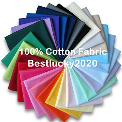"""100/% Cotton Fabric by Metre Craft Quilting Plain Sheeting 58/"""" Wide Multi Colours"""