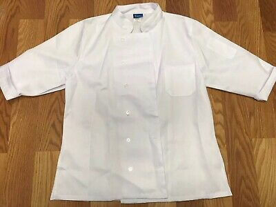 KNG White Classic Short Sleeve Chef Catering Coat Size XL Worn Once Defects