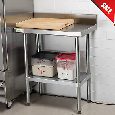 "18"" x 30"" Stainless Steel Commercial Work Table with 4"" Backsplash Undershelf"