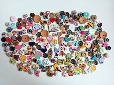 100 Pieces Colorful Bear Wood Wooden Buttons Embellishments for DIY Sewing Crafts 18x15mm