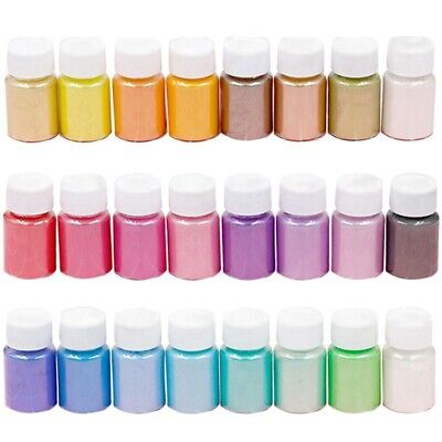 24 Colors Mica Mineral Powder Epoxy Resin Dye Pearl Shimmery Pigment DIY Kit UK