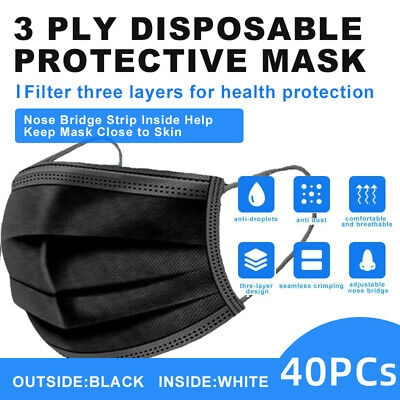 【Individual Bag 】40 Pcs 3-Ply Black Disposable Face Mask Earloop Mouth Cover
