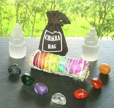 7 Chakra Healing Set 7 Tumbled Stones, Selenite Tower, Sage and Carry Pouch