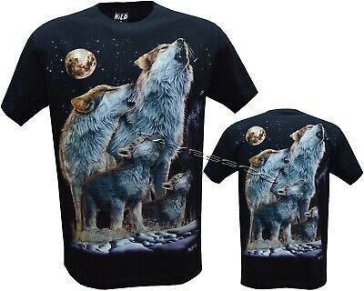 Front /& Back Print M-3XL Wolf Pack Biker Native American Indian Animal T Shirt