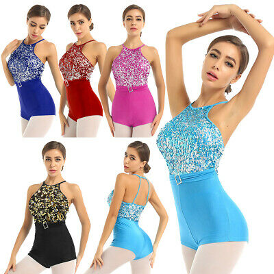 Women Sequin Lyrical Dress Contemporary Ballet Gym Dance Costume Leotard Unitard