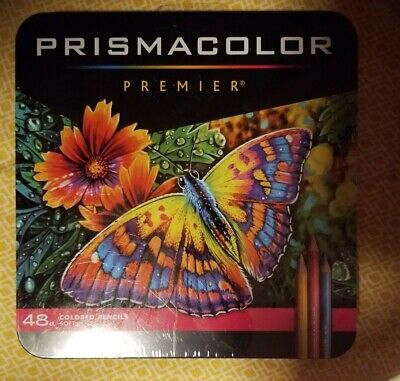 Prismacolor Premier 48 Assorted Colored Pencils Soft Core Brand New In Tin
