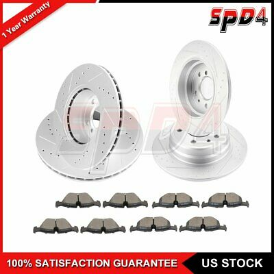 Front Drill Slot Brake Rotors Ceramic Pads For BMW 540i 735 740 750 E32 E34 E38