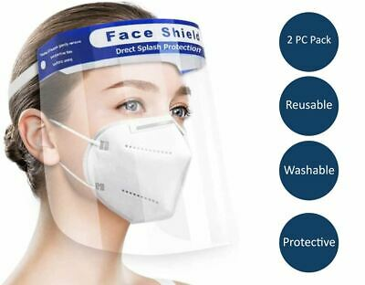 Face Shield Visor Safety Anti-Fog Face Protection Reusable Washable Unisex 2 Pc