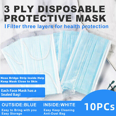 [Individual Bag] 10 PCs Blue Disposable Face Mask 3-Ply Ear-loop Mouth Cover
