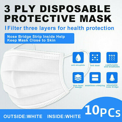 【Individual Bag】10 PCs White Disposable Face Mask 3-Ply Ear-loop Mouth Cover