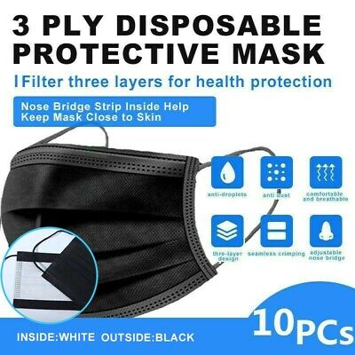 【Individual Bag 】10 Pcs 3-Ply Black Disposable Face Mask Earloop Mouth Cover