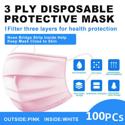 [Pink]100Pcs Face Mask Disposable Non Medical Surgical 3-Ply Earloop Mouth Cover