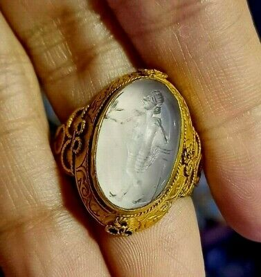 Ancient Crystal Hercules Greek Intaglio 22K Solid Gold Thick Signet Ring 6 Grams