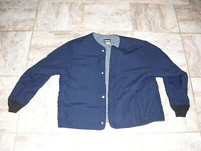 Bulwark FR Flame Resistant Snap Up quilted Work Jacket Mens Sz XXL Navy