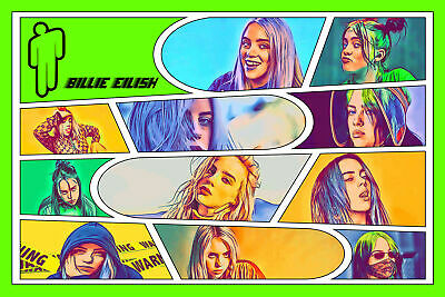 Large Poster 12x8 inches Medium 16x12 inches 24x16 inches Small 3 Sizes 4 Formats Foamboard Acrylic Billie Eilish Comic Icons Art Print Canvas