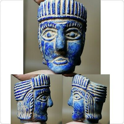 Sassanian lapis stone Ancient rare unique  Roman face king head   statue  # 29