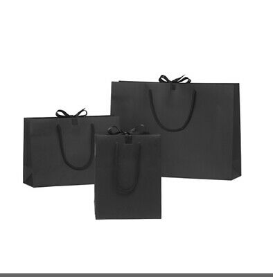 50 Black Luxury Gift Bags Wedding Birthday Party events Ribbon Tie bow