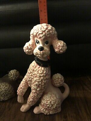 Vintage Ceramic Pink Poodle Figurine 10 3 4 Tall And 7 Very Cute 25 48 Picclick Uk